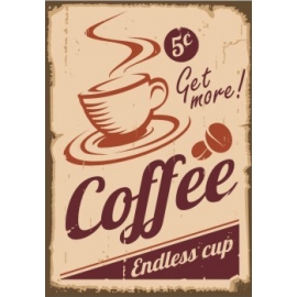 Afdruipmat 49x39 cm. - Retro Get more Coffee